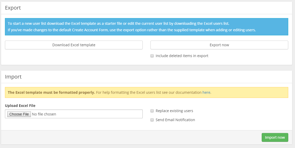 User Import/Export